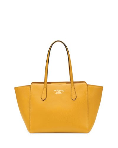 Gucci Swing Leather Tote Bag Bumble Bee Yellow New Authentic