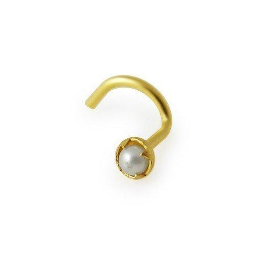 piercing nez or jaune 9 carats perle blanc bijoux en or. Black Bedroom Furniture Sets. Home Design Ideas