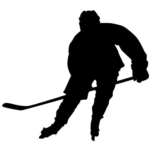 Hockey Wall Sticker Decal 5 - Ice Hockey Sports Silhouette Decoration Mural - 12 In. Black front-13719