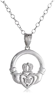 DiAura Sterling Silver Diamond-Accent Claddagh Pendant Necklace
