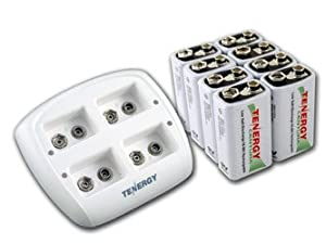 Tenergy TN136 4 Bay 9V Smart Charger with 8 pieces 9V Tenergy Centura (Low Self Discharge) NiMH 200mah Rechargeable Batteries