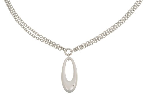 Silver and Diamond Open Drop 41cm Necklet