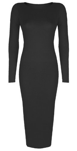 Womens Ladies Celebrity Inspired Long Sleeve Bodycon Midi Calf Length Dress - Normal and Big Sizes (S/M (8-10), Black)