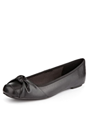 M&S Collection Leather Slip-On Snub Knot Pumps