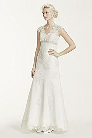 Cap Sleeve Lace Over Satin Wedding Dress with Illusion Back Style T3299,...