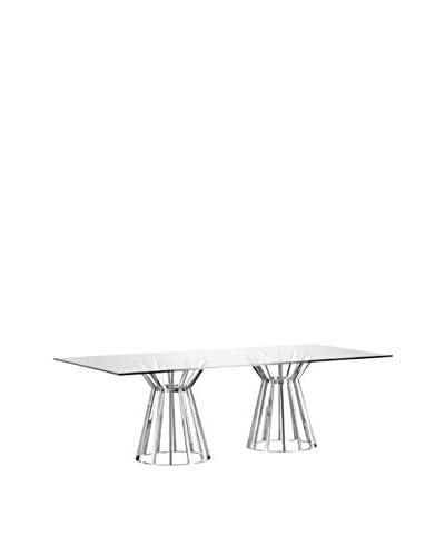 Whiteline Mason Modern Glass Rectangle Dining Table