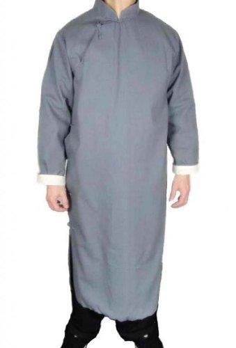 Interact China 100% Baumwolle Grau Kung Fu Kampfkunst Tai Chi Langer Mantel Robe S
