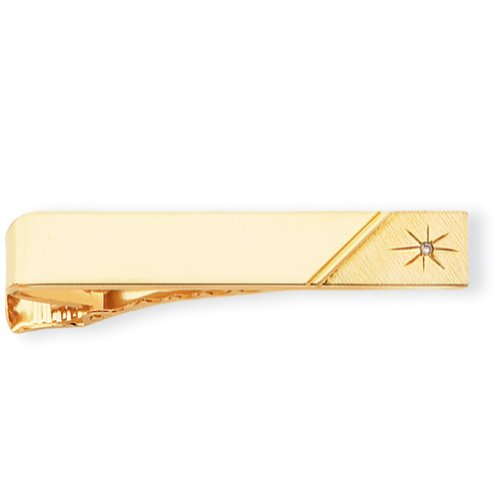 Gold-plated .01 Ct. Diamond Polished Florentined Tie Bar