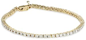14k Yellow Gold 4-Prong Diamond Tennis Bracelet (2 cttw, H-I Color, I1-I2 Clarity), 7''