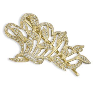 14 Karat Gold Plated Crystal Fashion Bobby Pin