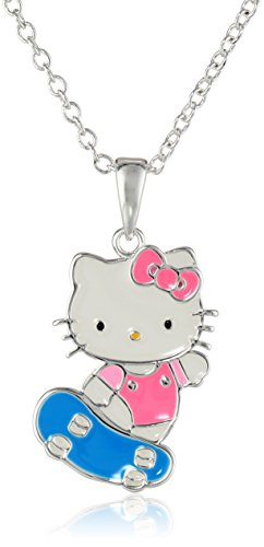 Girls-Hello-Kitty-Silver-Plated-Skateboard-Pendant-Necklace-18