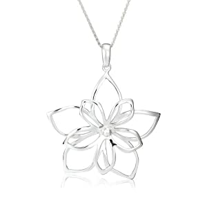 sterling silver open double flower pendant