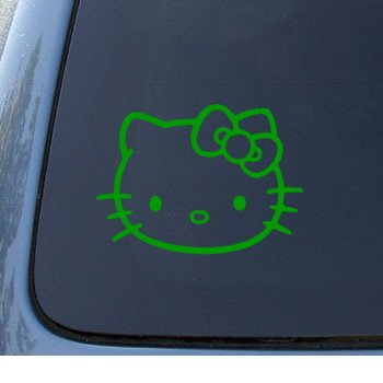 HELLO KITTY - Cat Feline - Car, Truck, Notebook, Vinyl Decal Sticker #1093 | Vinyl Color: Green