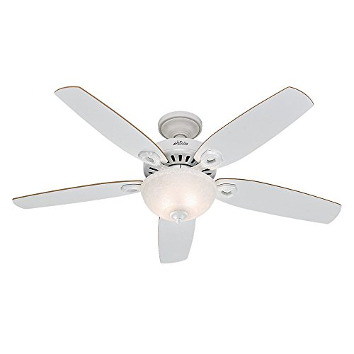 Hunter 53089 Builder Deluxe 52-Inch Ceiling Fan with Five White/Beech Blades and Snowflake Linen Glass Light Kit, White (52 Inch Hunter Ceiling Fans compare prices)