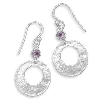 Textured Earrings with Amethyst