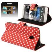 Red and White Dot Pattern Flip Leather Case with Holder Credit Card Slots for HTC One mini / M4