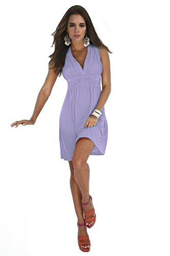 Charm Your Prince Women's Sleeveless Summer Sun Dress (Medium, Lavender)
