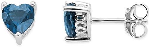 Byjoy 925 Sterling Silver Heart Shape London Blue Topaz Stud Earrings BAE395E