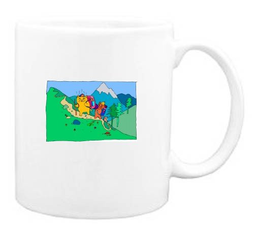 Mug with walking, hiking, mountain, cat, forest