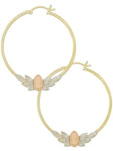 14k Tricolor Gold, Religious Virgin Guadalupe Design Hollow Round Tube Hoop Earring 33mm Inner Diameter
