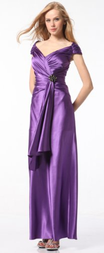 5219 Satin V-neck Homecoming Pageant Long Dress