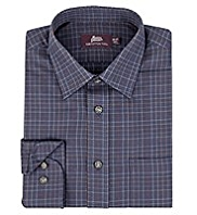 2in Longer Pure Cotton Poplin Checked Twill Shirt