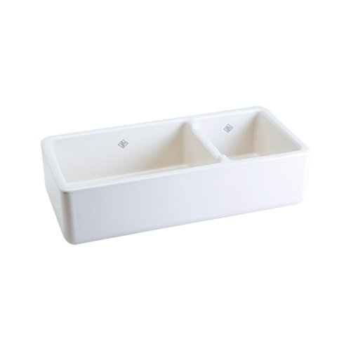 Rohl RC4019WH 39-1/2-Inch by 18-1/2-Inch by 10-Inch Deep Shaws Rutherford Plain Apron Front Fireclay Kitchen Sink, White