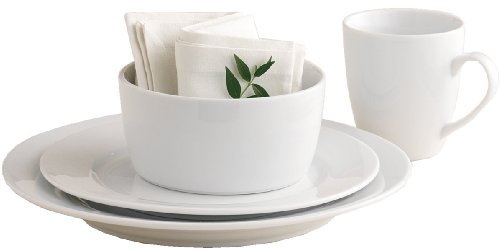 Tag Whiteware Porcelain 16-Piece Dinnerware Set Service for 4, White