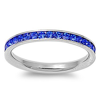 Stainless Steel Eternity Blue Cz Wedding Band Ring 3mm (Size 3,4,5,6,7,8,9,10); Comes with Free Gift Box(7)