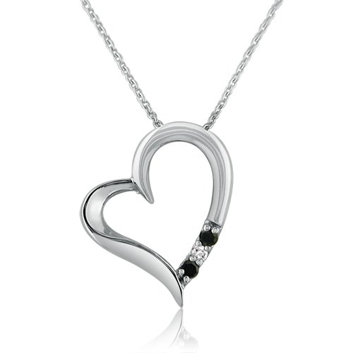 Best Buy Sterling Silver Black and White Diamond 3 Stone Heart Pendant Nec