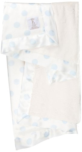 Little Giraffe Luxe Cream Dot Baby Blanket, Blue