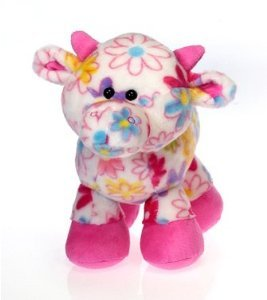 "PICK ME - Colorful 10"" COW PLUSH -Farm Animal FLOWER DESIGN/Retro/HIPPIE/60'S GIRL'S Stuffed Animal/TWEENS/TOY"