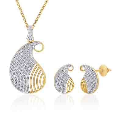 Peora 18 Karat Gold And Rhodium Plated Pendant Set With Swiss Cubic Zirconia + Free Chain PS95Gj