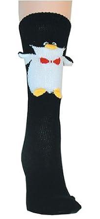 Happy Penguin 3 Dimensional Trouser Socks by Foot Traffic [Apparel]