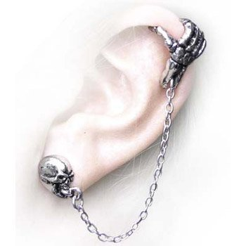 Mortal Remains Skull Cuff-Stud Earring by Alchemy Gothic of England