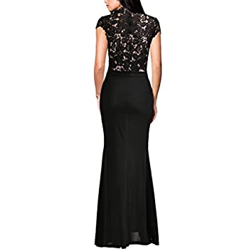 REPHYLLIS Women's Retro Floral Lace Vintage Wedding Maxi Fromal Long Dress
