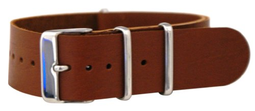 22Mm Leather Saddle Nato Ballistic Military Watch Band Strap G-10 Fits All Watches!!!
