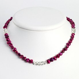 Sterling Silver Magenta Cultured Pearl Necklace - 16 Inch - Lobster Claw - JewelryWeb