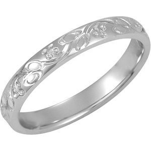 Platinum Patterned Design Band: Size 5