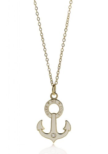 Pendant Necklace Gold Jewelry For Women or Girls Charm Crystal Diamond on Anchor
