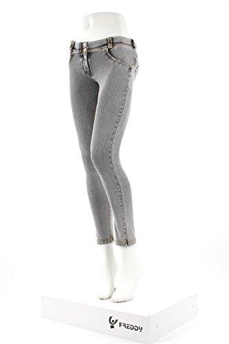 Freddy, Jeans aderenti modellanti Donna WR.UP®, Denim grigio chiaro Cuciture Gialle, XL