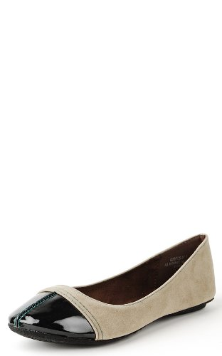 Quintus87 Patent Toe Colored Stitch Flats TAUPE