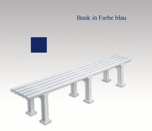 Gartenbank, Parkbank, Bank aus Kunststoff, ohne Lehne, blau, 200 cm
