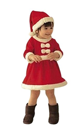 PrettyKids Christmas Santa Claus Costume Outfit Baby Girl Cute Suit Skirt