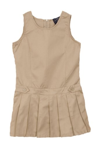 U.S. Polo School Uniform Girls 2-6X Twill Pleated Bottom Jumper Dress, Khaki, 6