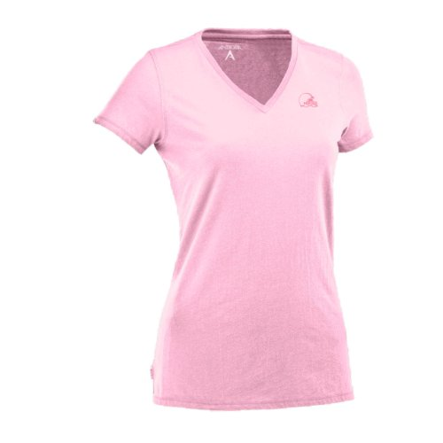 NFL Women's Cleveland Browns Dream Jersey Tee (Mid Pink, Medium) at Amazon.com