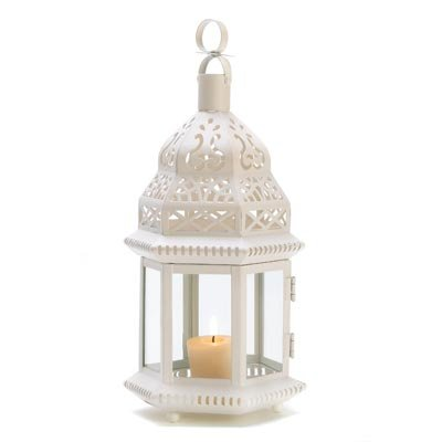 Gifts & Decor White Moroccan Style Hanging Candle Lantern Centerpiece Gifts & Decor B008YQ566U