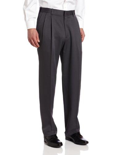 Haggar Men'S Two Tone Herringbone Expandable Waist Pleat Front Dress Pant,Medium Grey,38W X 29L