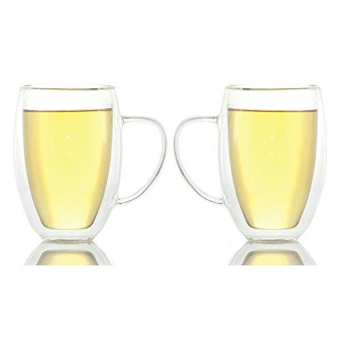 Zeus Double Wall Glass Tea & Coffee Cup Mug - 13.5Oz / 400Ml (2)
