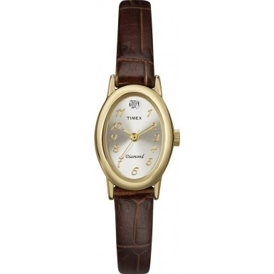 Женские наручные часы Timex T2N193 Ladies Diamond Brown Leather Strap Watch